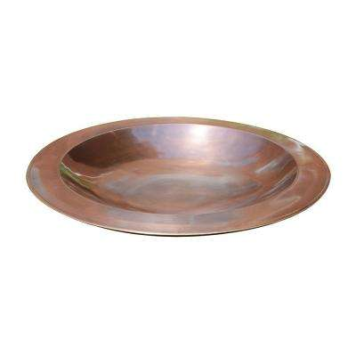 24 in. Dia Antique Copper Plated Large Brass Classic Birdbath with Shallow Rimmed Bowl