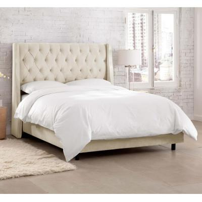 Belle Mystere Ivory California King  Tufted Wingback Bed