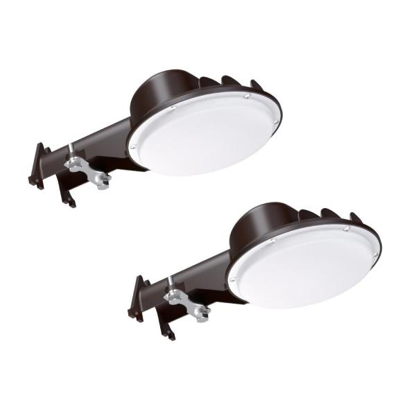 150-Watt Equivalent Bronze Integrated Outdoor LED Area Light, 2500 Lumens Dusk to Dawn Outdoor Security Light (2-Pack)