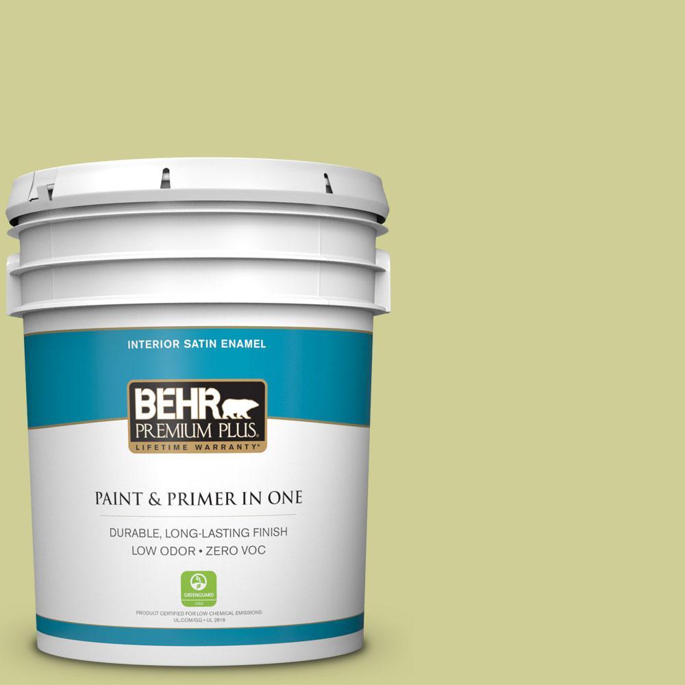 BEHR Premium Plus 5-gal. #M340-4 Wasabi Satin Enamel Interior Paint