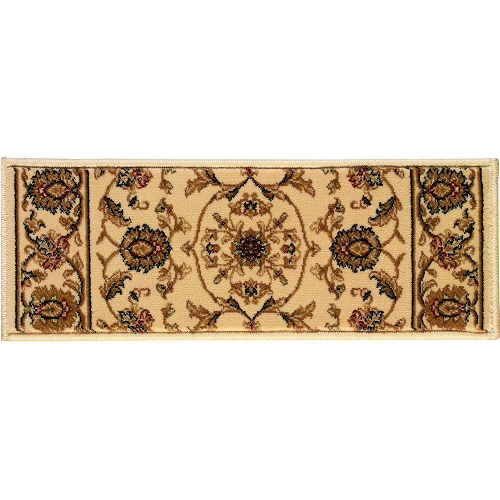 Kurdamir Rockland Ivory 9 in. x 26 in. Stair Tread Cover