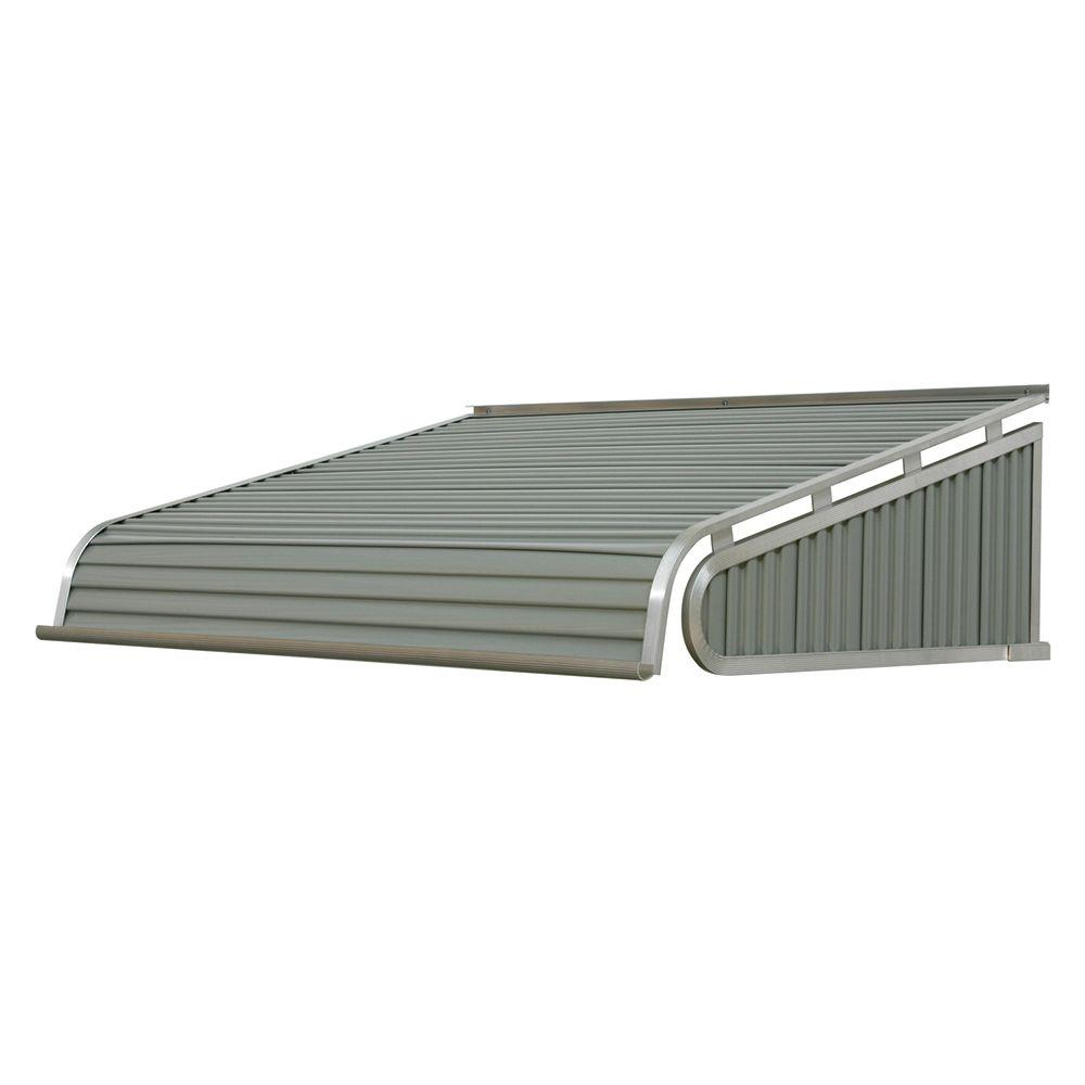 NuImage Awnings 5 ft. 1500 Series Door Canopy Aluminum Awning (12 in. H x 42 in. D) in Graystone