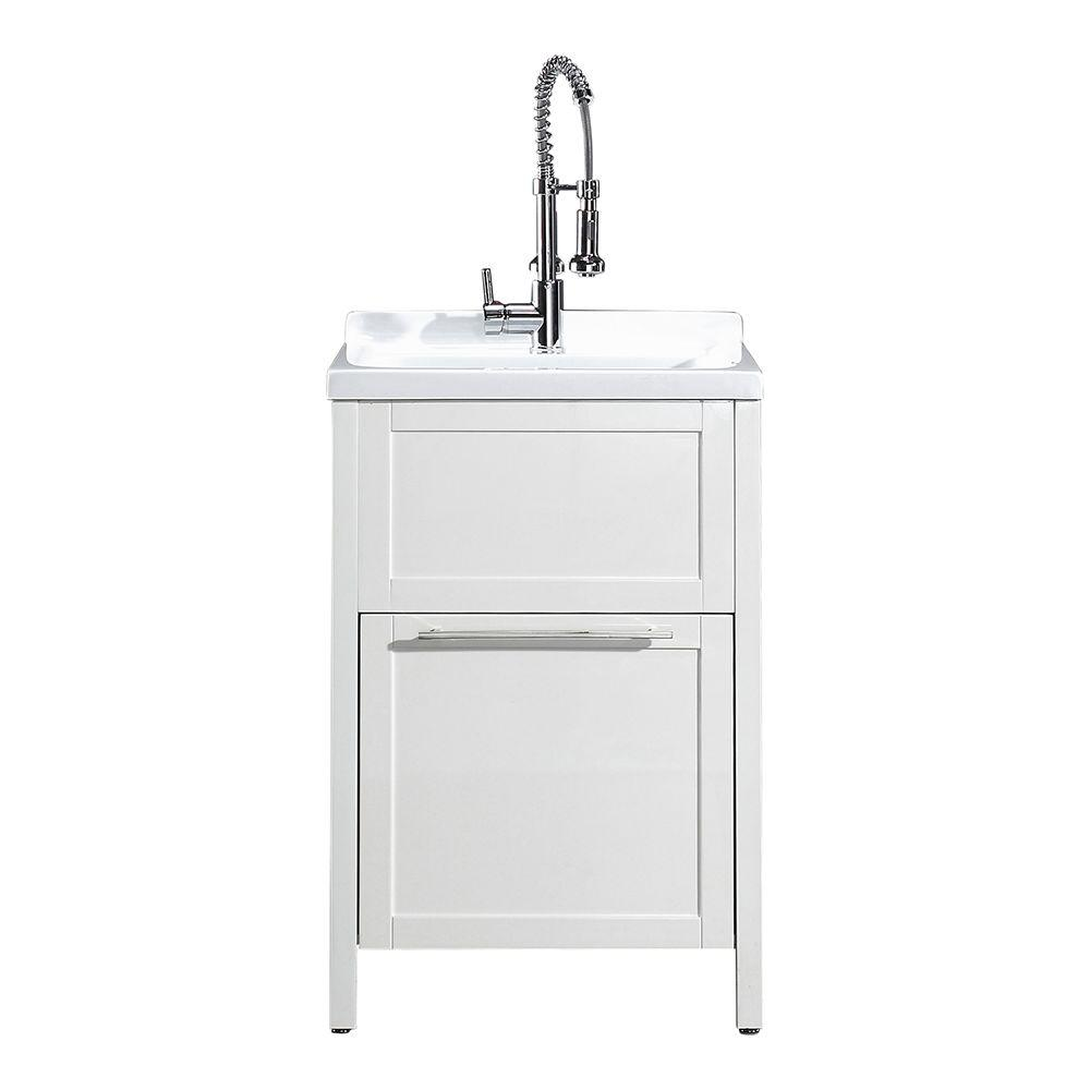 Eleni All In One Kit 24 X 22 37 8 Acrylic Utility Sink With Cabinet White