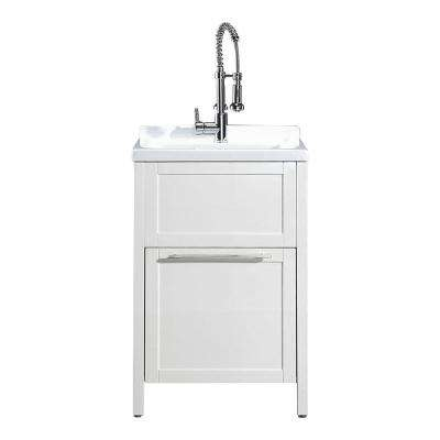 Eleni All-In-One Kit 24 in. x 22 in. x 37.8 in. Acrylic Utility Sink with Cabinet in White