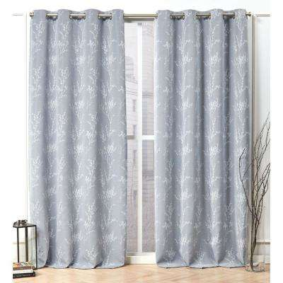 Turion Chambray Blue Blackout Grommet Top Curtain Panel - 52 in. W x 96 in. L (2-Panel)