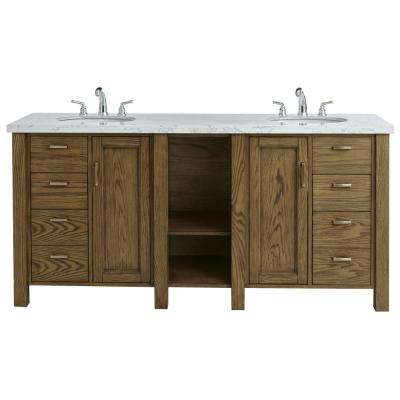 Stanford 72 in. W Double Bath Vanity in Aged Oak with Faux Marble Vanity Top in White with White Basin