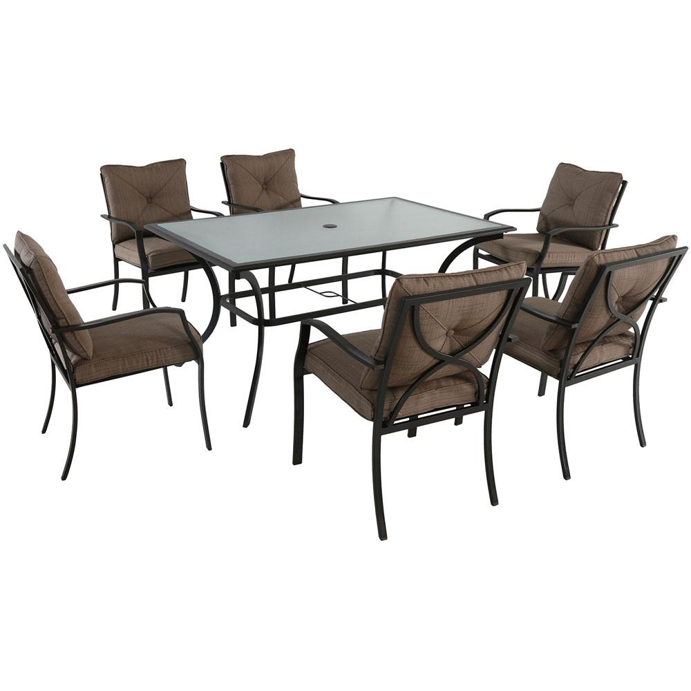 Palm Bay 7-Piece Steel Outdoor Dining Set with Copper Brown Cushions