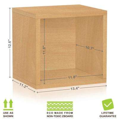 Connect System 11.2 in. x 13.4 in. x 13.4 in. zBoard  Stackable Open Storage Cube Organizer Unit in Natural Wood Grain