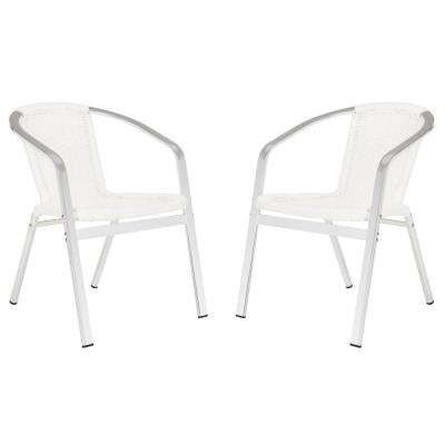 Wrangell Stacking Aluminum Outdoor Dining Chair in White (Set of 2)