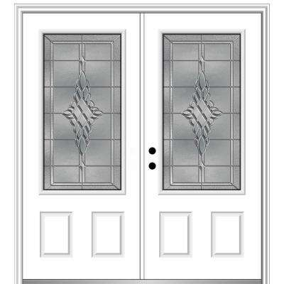 72 in. x 80 in. Grace Right-Hand Inswing 3/4-Lite Decorative Primed Fiberglass Prehung Front Door on 4-9/16 in. Frame