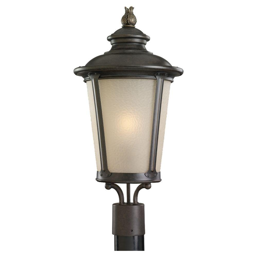 Cape May 1-Light Burled Iron Outdoor Post Top  sc 1 st  Home Depot & Sea Gull Lighting Branford 2-Light Obsidian Mist Outdoor Post Top ... azcodes.com