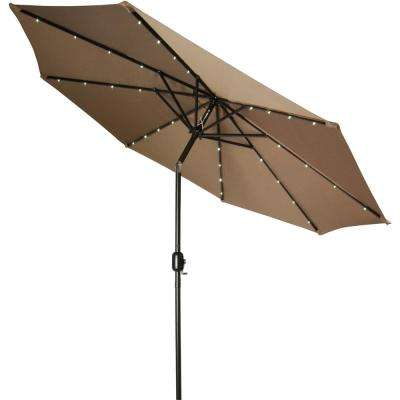 Exceptionnel Deluxe Market Solar Powered LED Lighted Patio Umbrella In Tan