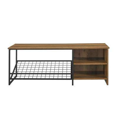 "Welwick Designs 48"" Industrial Entry Bench w/ Shoe Storage"