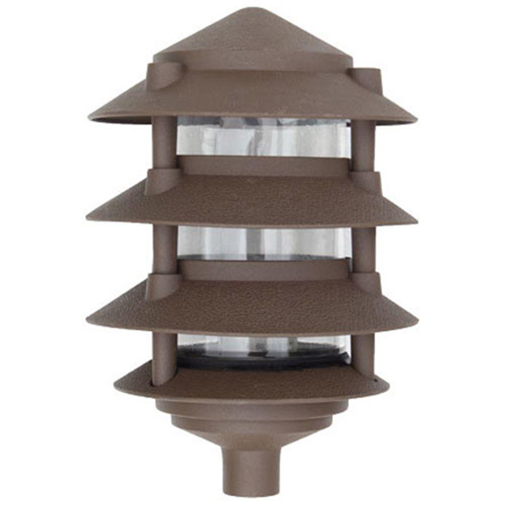 Corbin 1-Light Bronze 4-Tier Outdoor Pagoda Pathway Light