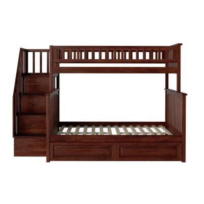 Columbia Staircase Bunk Bed Twin over Full with 2-Raised Panel Bed Drawers in Walnut