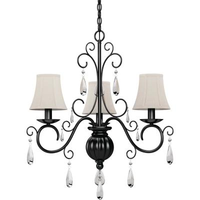 Ava 3-Light Foundry Bronze Indoor Hanging Chandelier with Ivory Fabric Lamp Shades