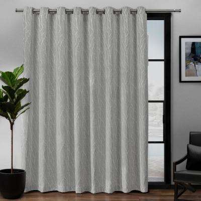 Forest Hill Patio 108 in. W x 84 in. L Woven Blackout Grommet Top Curtain Panel in Dove Grey (1 Panel)