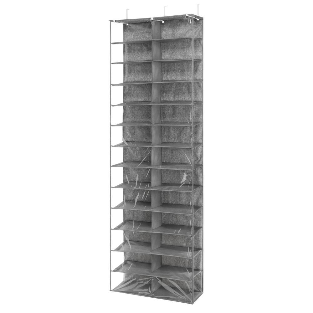 Over The Door 26 Pair Gray Shoe Storage Rack