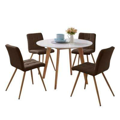 Edgewater 5-Piece Dining Set w/White Topped Round Table and Armless Upholstered Dining Chairs in Chocolate Brown Linen