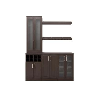 Home Bar 21 in. Espresso Cabinet Set (7-Piece)