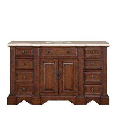58 in. W x 22 in. D Vanity in English Chestnut with Marble Vanity Top in Crema Marfi with White Basin