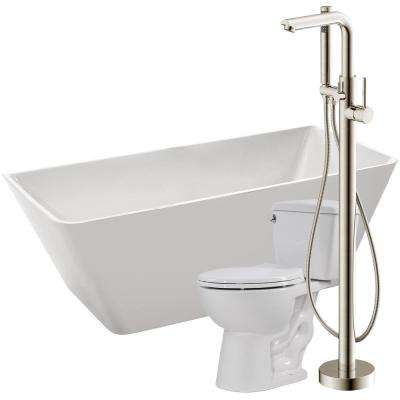 Zenith 67 in. Acrylic Flatbottom Non-Whirlpool Bathtub with Sens Faucet and Author 1.28 GPF Toilet