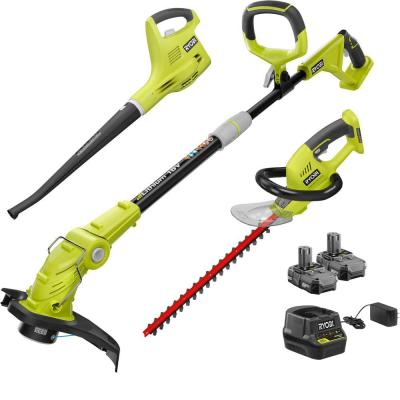 ONE+ 18-Volt Lithium-Ion Cordless Trimmer/Blower/Hedge Combo Kit - Two 1.3Ah Batteries and Charger Included