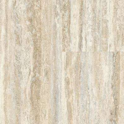 Travertine Plank Natural 12 in. Wide x 24 in. Length Click Floating luxury vinyl plank flooring (19.58 sq. ft./case)
