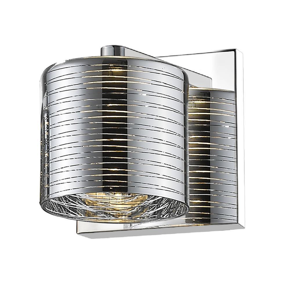 1-Light Chrome Sconce with Chrome Glass