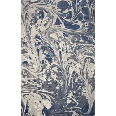 Watercolors Grey Marble 3 ft. x 5 ft. Area Rug