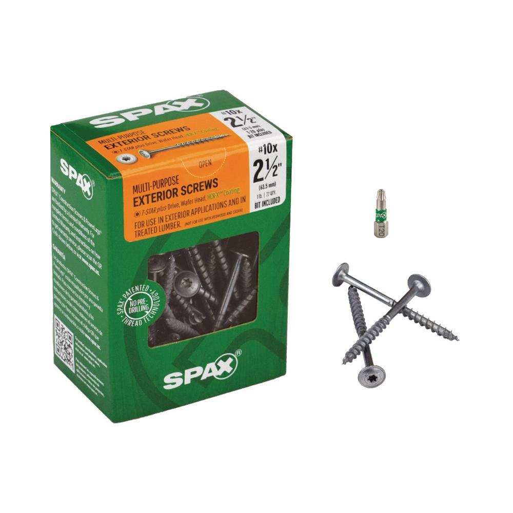 SPAX #10 x 2-1/2 in. Wafer Head T-STAR High Corrosion Resistant Exterior Screw (1 lb.-Box)