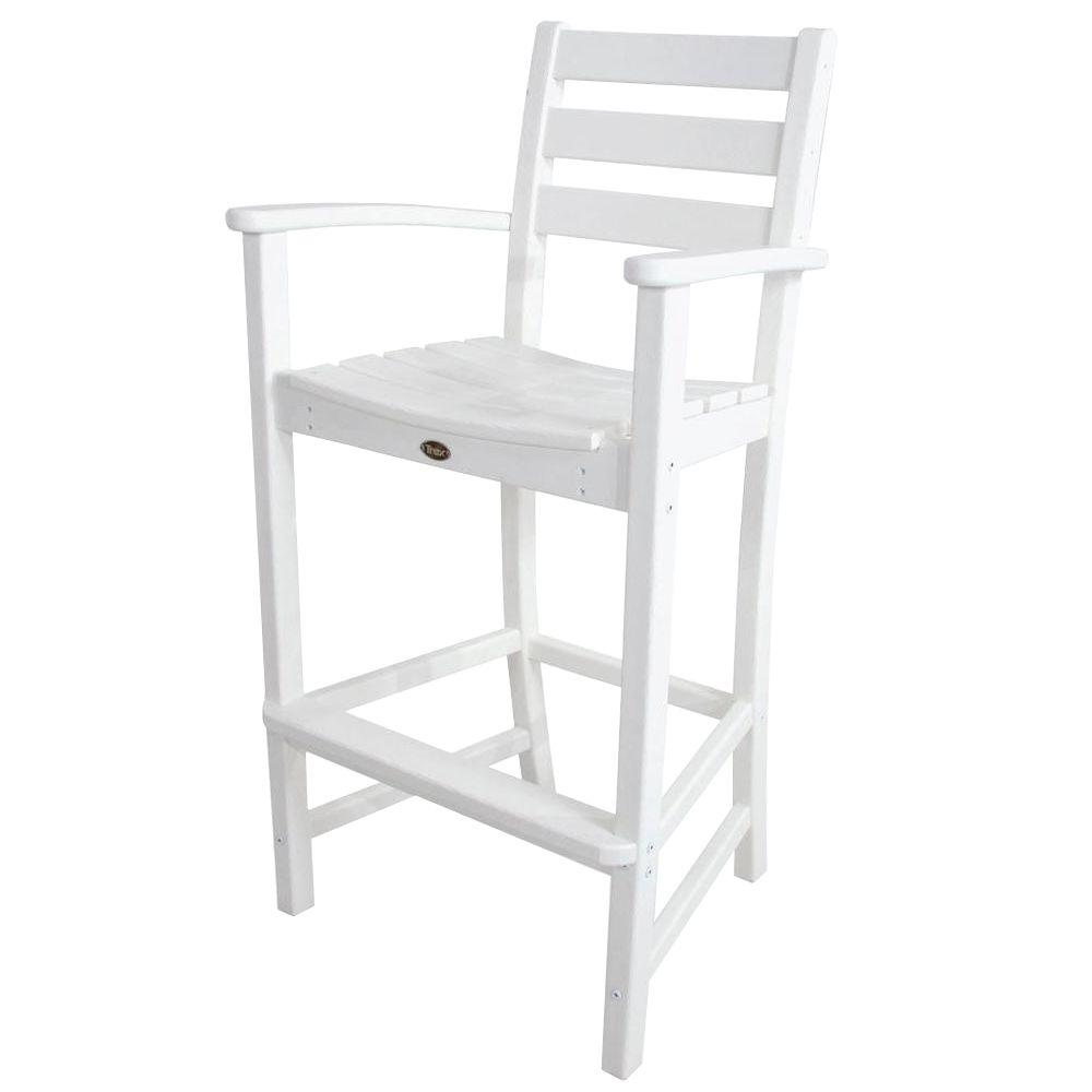 Trex Outdoor Furniture Monterey Bay Classic White Patio Bar Arm ...