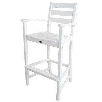 Monterey Bay Classic White Plastic Outdoor Patio Bar Arm Chair