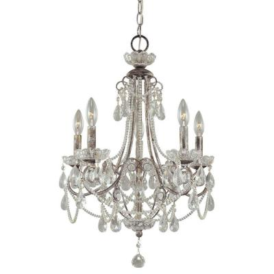 5-Light Distressed Silver Mini Chandelier