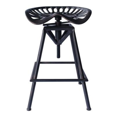 Today's Mentality Tustin Industrial Backless 21-32 in. Copper Brushed Gray Adjustable Barstool