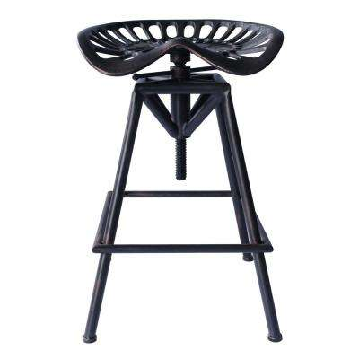 Tustin Industrial Backless 21-32 in. Copper Brushed Gray Adjustable Barstool
