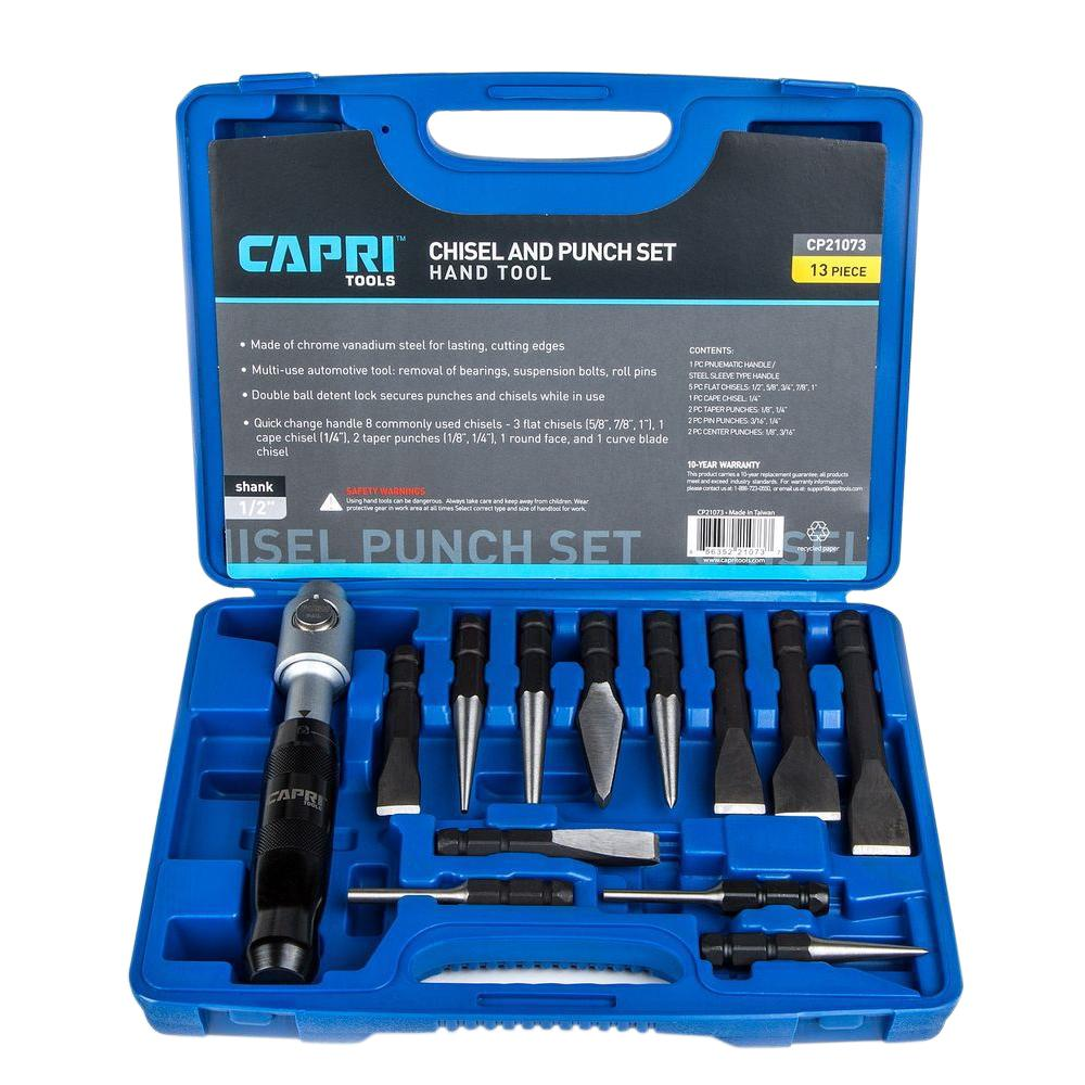 Capri Tools Punch and Chisel Set with Removable Handle (13-Piece ...