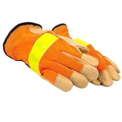 Premium High Visibility Leather Driver's Gloves (Men's XL)