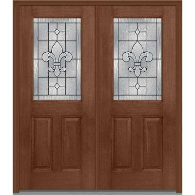 64 in. x 80 in. Carrollton Left-Hand Inswing 1/2-Lite Decorative 2-Panel Stained Fiberglass Mahogany Prehung Front Door