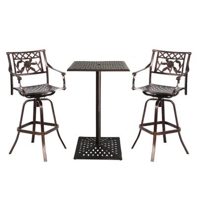 Rose 3-Piece Aluminum Outdoor Bar Height Dining Set