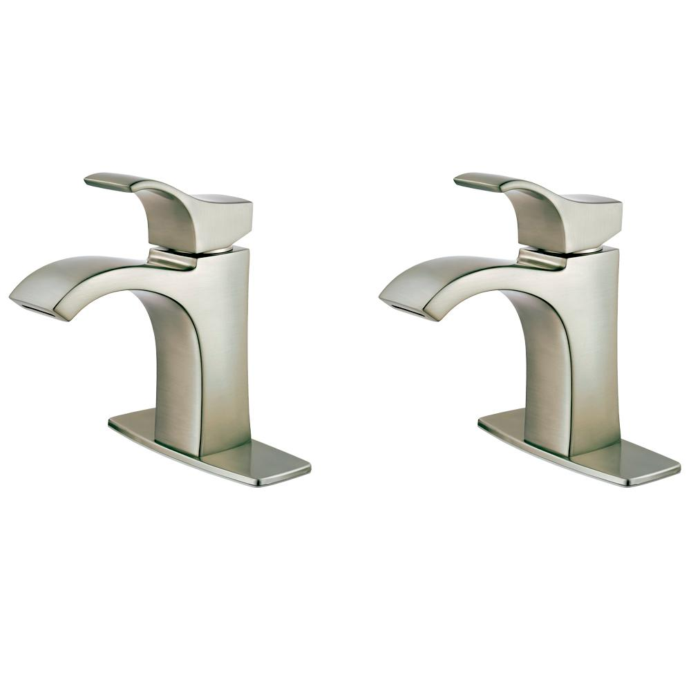 Pfister Venturi Single Hole Single-Handle Bathroom Faucet in Spot Defense Brushed Nickel (2-Pack Combo)