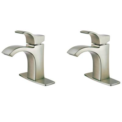 Venturi Single Hole Single-Handle Bathroom Faucet in Spot Defense Brushed Nickel (2-Pack Combo)