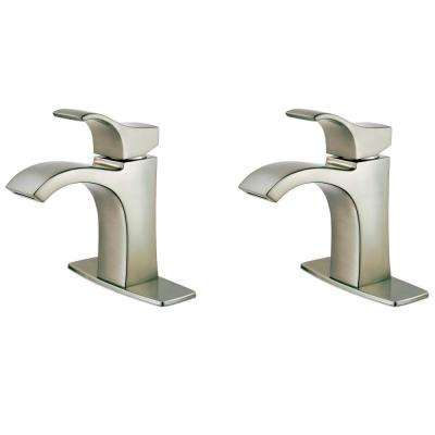 Venturi 4 in. Single Hole Single-Handle Bathroom Faucet in Spot Defense Brushed Nickel (2-Pack)