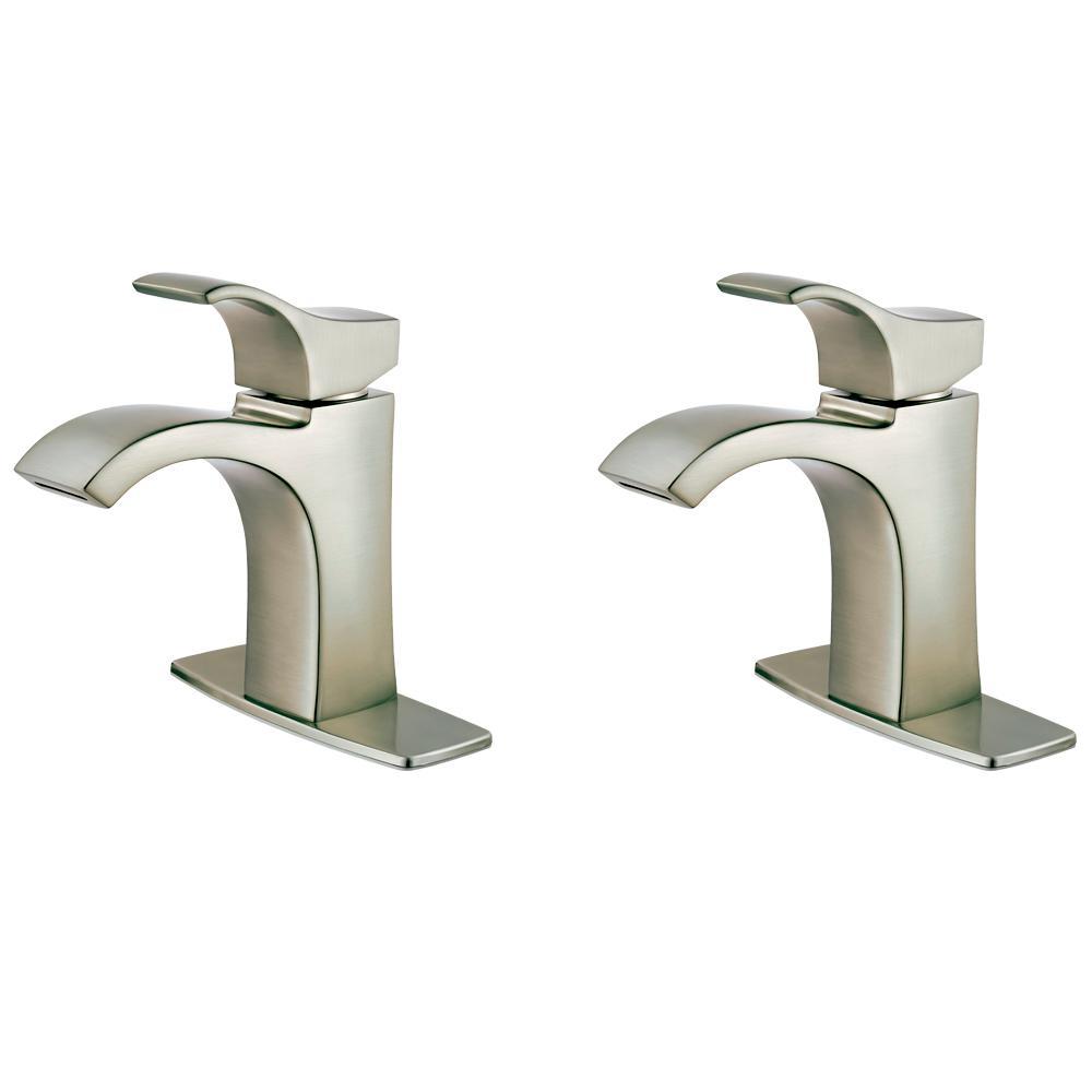 Venturi Single Hole Single-Handle Bathroom Faucet in Spot Defense Brushed Nickel (2-Pack Combo)