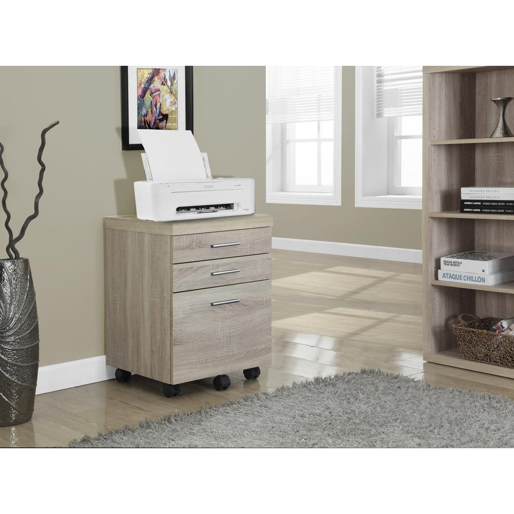 monarch specialties 3-drawer file cabinet on castors in natural 3 drawer file cabinet