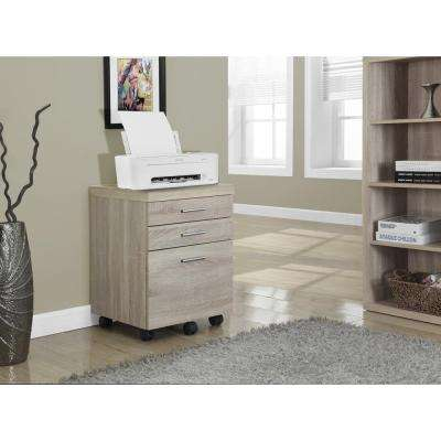 3-Drawer File Cabinet on Castors in Natural Reclaimed Look