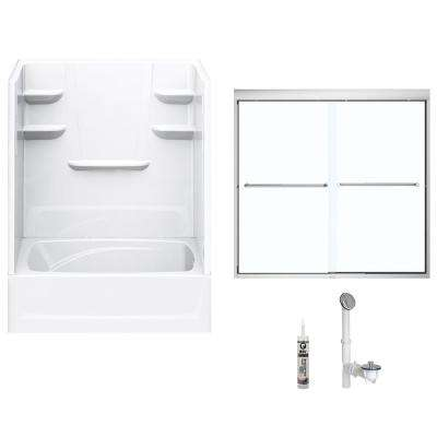 60 in. x 42 in. x 82 in. Bath and Shower Kit with Right-Hand Drain and Door in White and Chrome Hardware