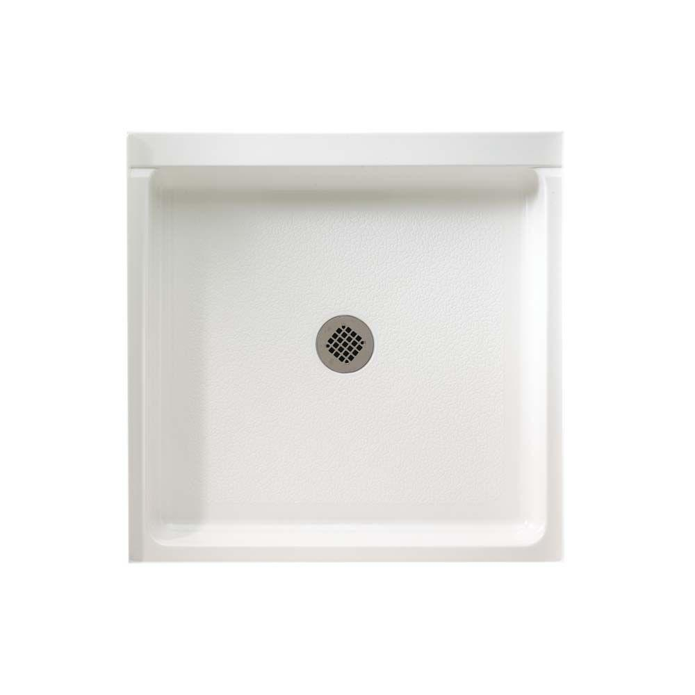 Solid Surface Double Threshold Shower Pan In White
