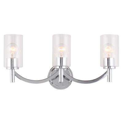 Devora 3-Light Chrome and Clear Glass Shade Bath Light