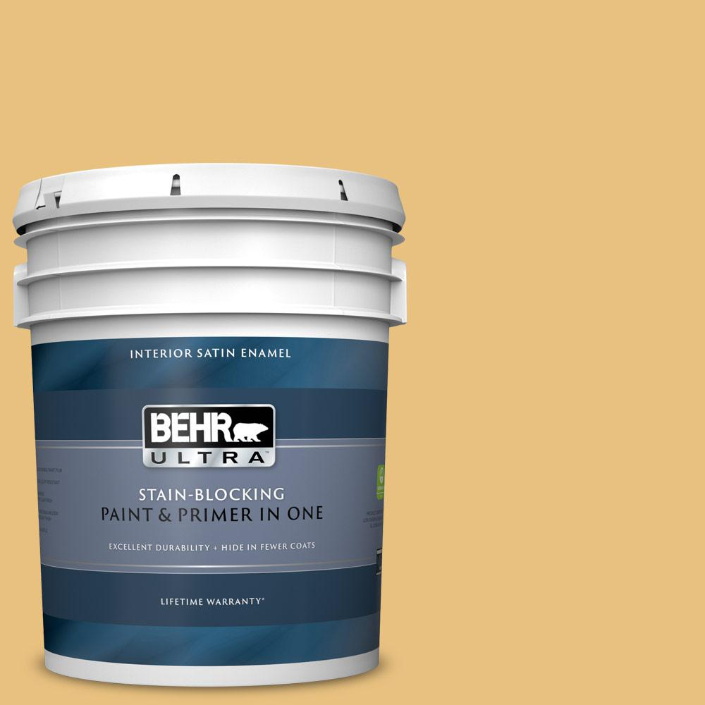 Behr Ultra 5 Gal 340d 4 Honey Bear Satin Enamel Interior Paint And Primer In One 775405 The Home Depot